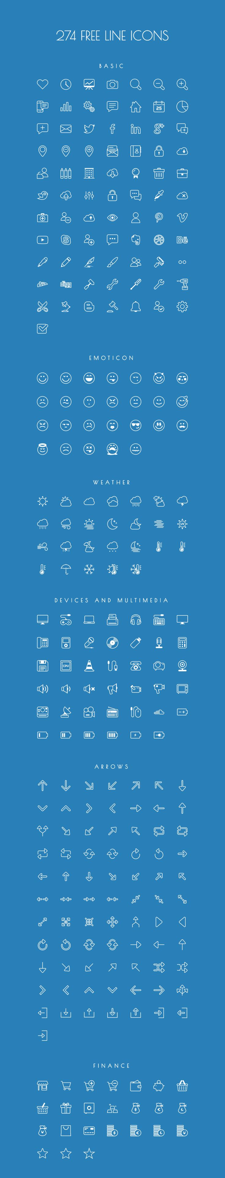 http://getcraftwork.com/274-vector-line-icons/ Completely free vector based line icons for you. In the pack you can find icons in PDF, SVG, EPS, PNG formats and finally as an icon font.