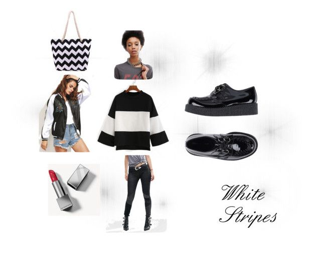 """White Stripes"" by beatefeick on Polyvore featuring Mode, BLANKNYC, Underground, ASOS, Burberry, white, black und stripes"