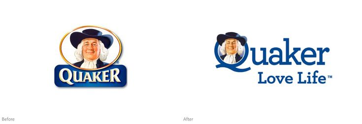 Quaker logo (before and after)