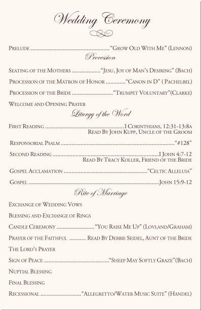 catholic wedding vows program samples in 2019