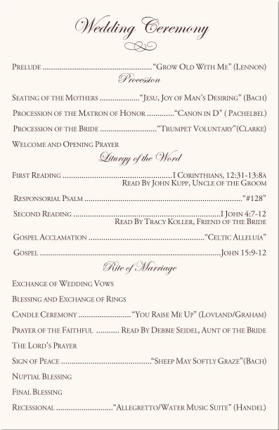Prayers of the faithful catholic wedding examples mini for Wedding ceremony order of service template free