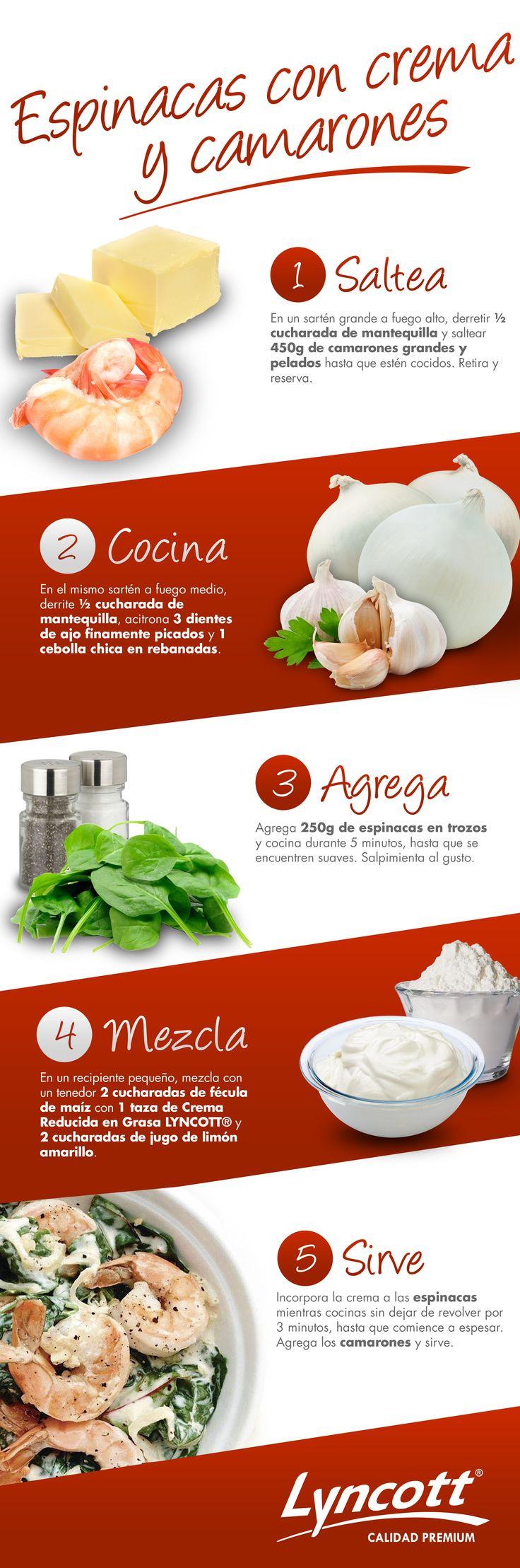 Espinacas con crema y camarones #RecetaFácil #Camarones #Espinacas #Saludable