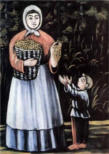 A peasant woman with her son - Niko Pirosmani