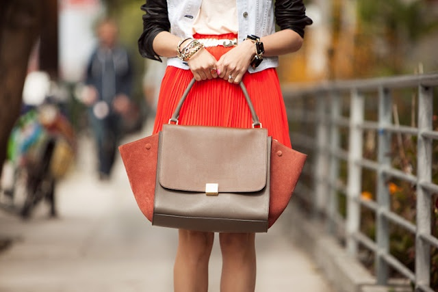 Celine trapeze in calfskin terracotta- love how the colour matched