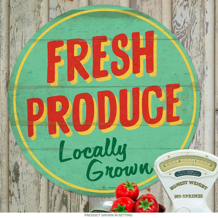 Fresh produce locally grown farm metal sign large fresh