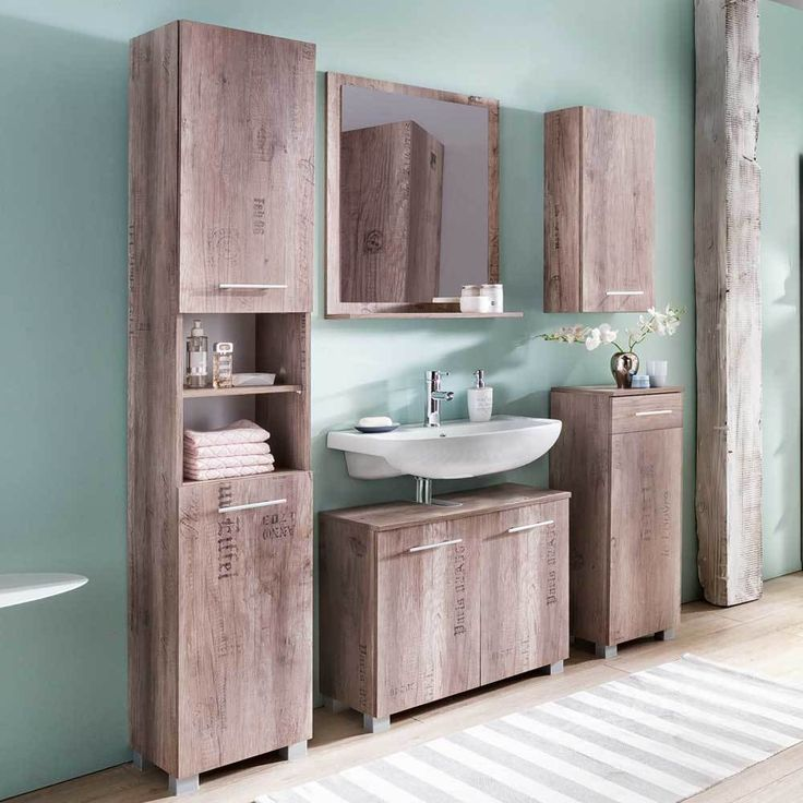 New Badezimmer Komplettset in Eiche Weinkisten Optik modern teilig Jetzt bestellen unter https moebel ladendirekt de bad badmoebel badmoebel sets uid ud