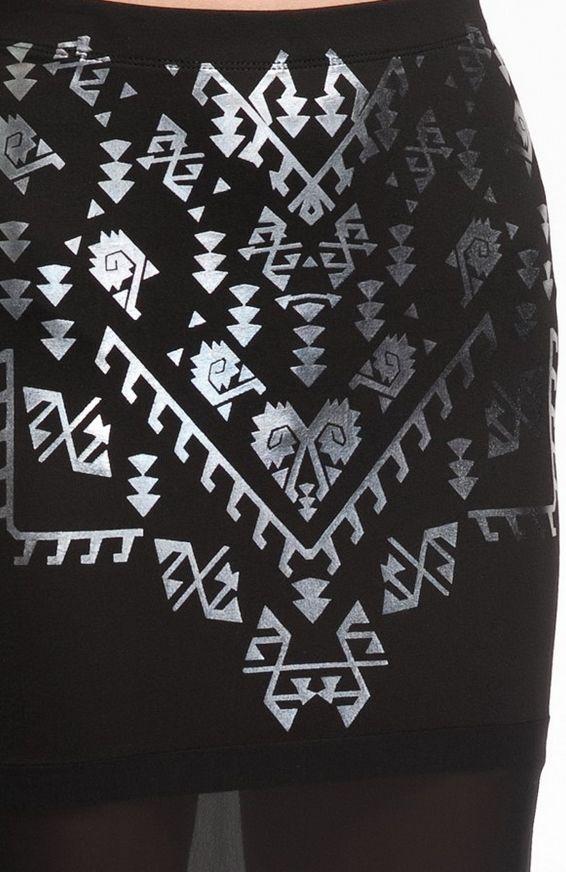 silver aztec foil print pencil skirt detail