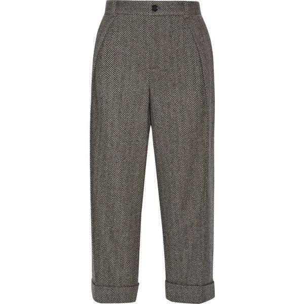 Gucci Cropped herringbone wool-blend wide-leg pants ($1,150) ❤ liked on Polyvore featuring pants, capris, gucci, trousers, pantalons, bottoms, grey, gray pants, cuff pants and cropped pants