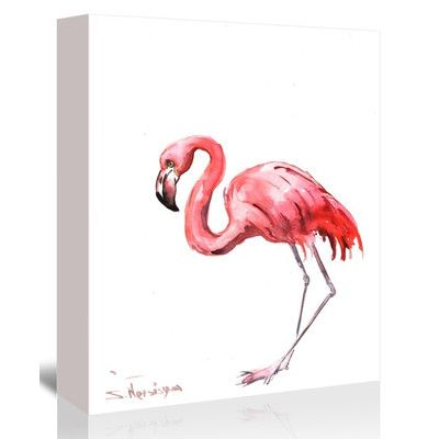 Bay Isle Home Pink Flamingo Painting Print on Gallery Wrapped Canvas Size: