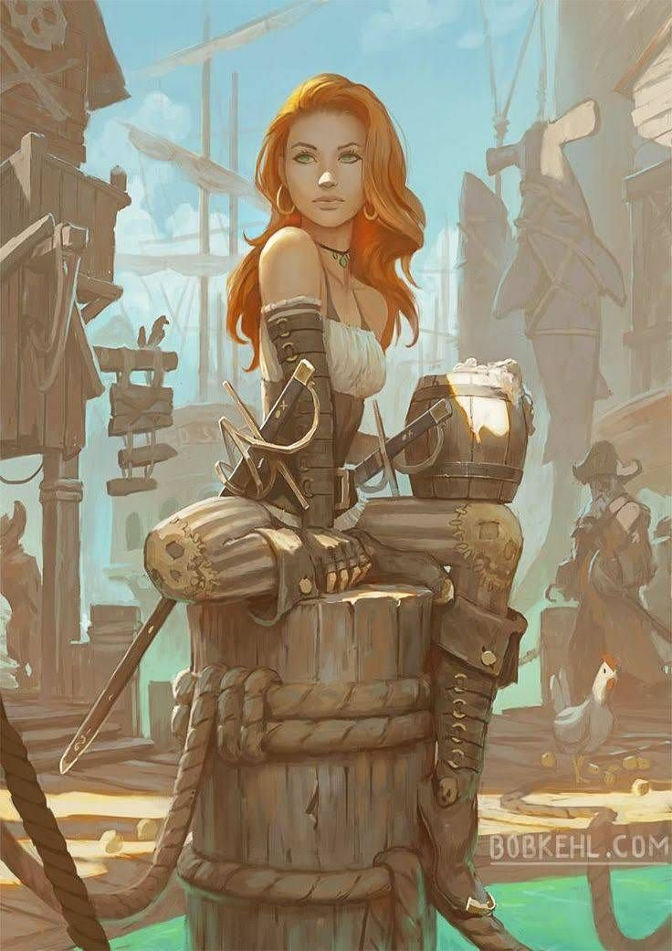 Beautiful Pirate Girl Orange Hair Fantasy Character Design Character Illustration Dnd Characters
