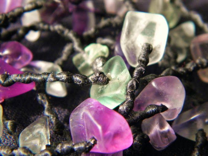 fluorite beads knotted wax cotton