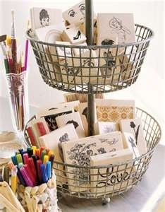 Love this idea for rubber stamp storage.  Tucked inside a cute two-tiered basket