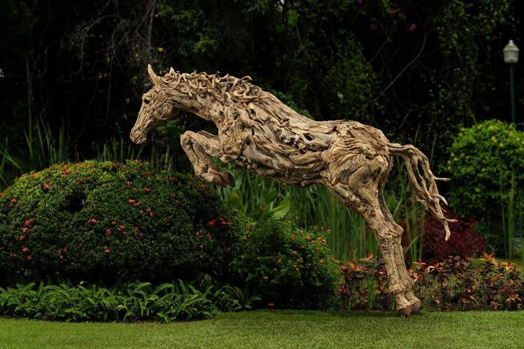 An amazing driftwood sculpture by artist James Doran-Webb. The photo was taken at the beautiful Montebello Garden Hotel in the Philippines.