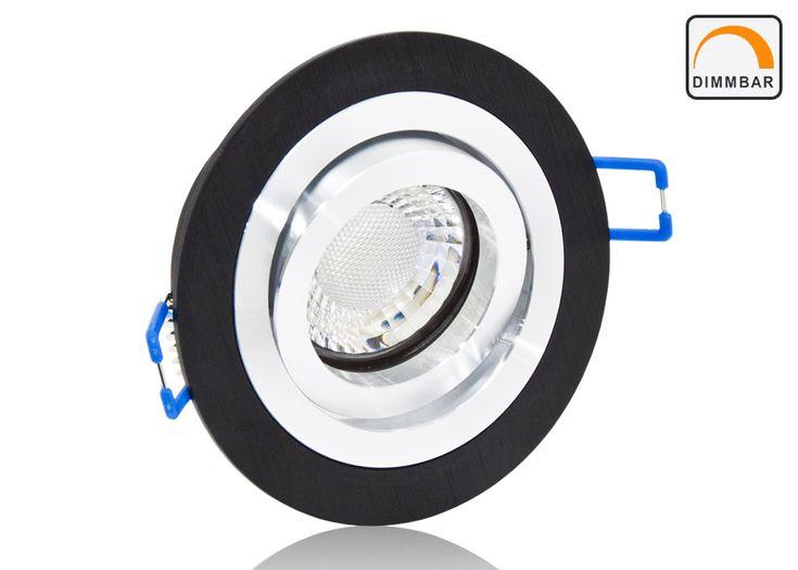 LED Einbaustrahler Set extra flach mit Marken Flat LED Spot LcLight 5 Watt Keramik Alu schwarz rund Dimmbar 40 Watt Ersatz