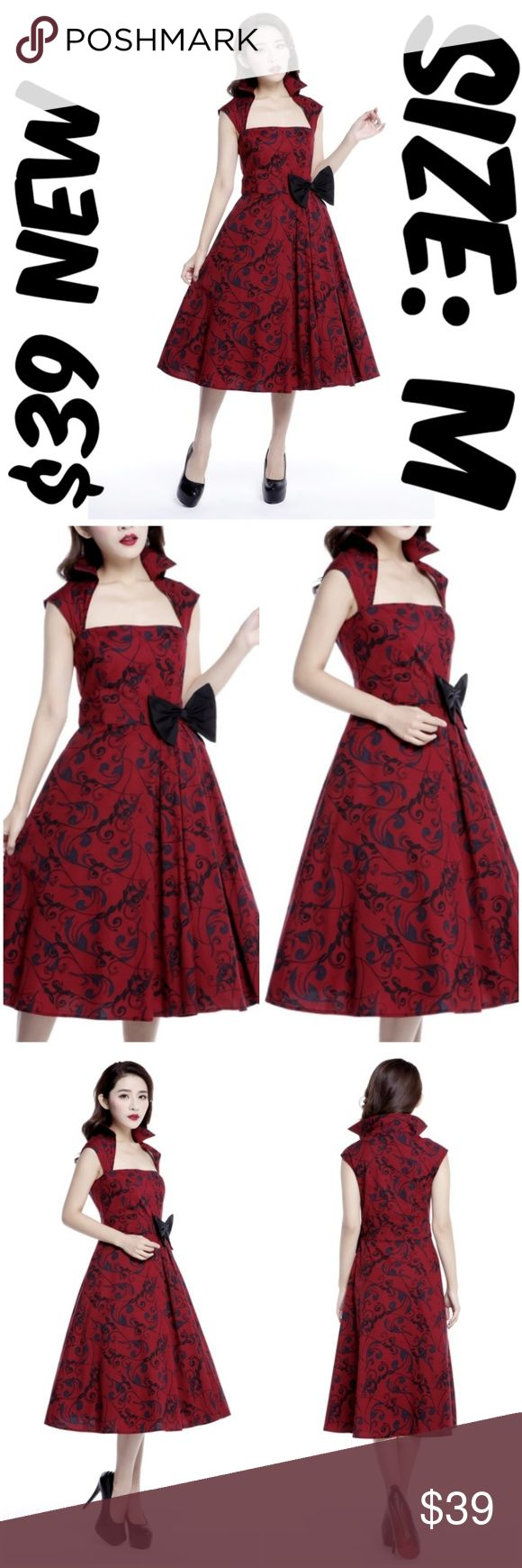 """Bow Pin Up Collar Dress Vintage 1950s Clothing Gir Bow Pin Up Collar Dress Vintage 1950s Clothing Girl BUST: 36"""" WAIST: 28"""" LENGTH: 44"""" CONDTION: NEW WITHOUT TAGS MATERIAL: 97% COTTON 3% SPANDEX TAG SIZE IS EUROPEAN 38 WHICH IS U.S. MEDIUM #C6 Dresses"""