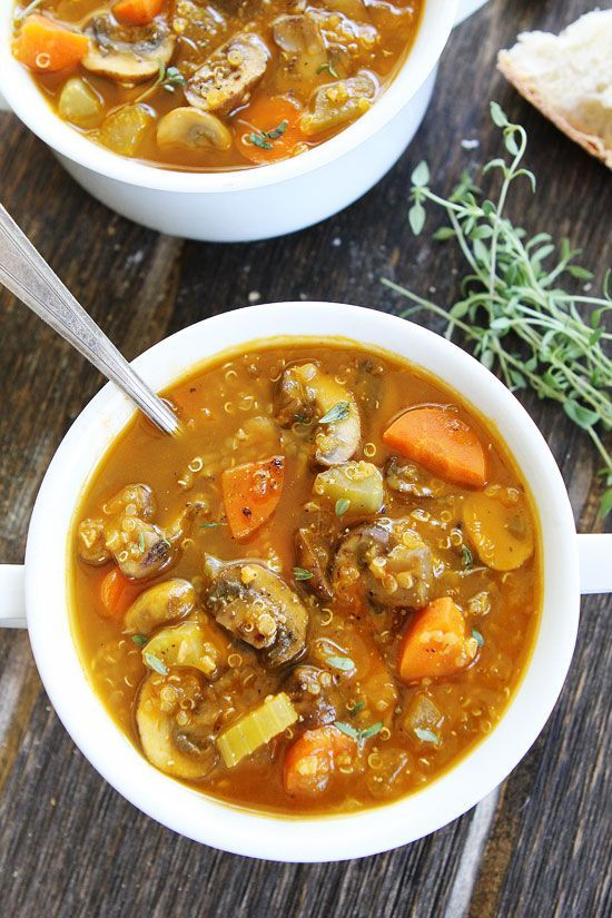 Mushroom Quinoa Soup Recipe on twopeasandtheirpod.com This healthy and hearty soup is perfect for lunch or dinner! It is gluten-free, vegan, and SO delicious!