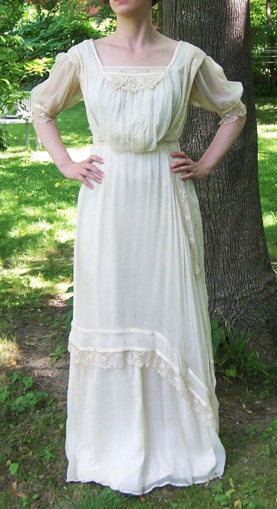 Antique Silk And Irish Lace Gibson Girl Wedding Dress