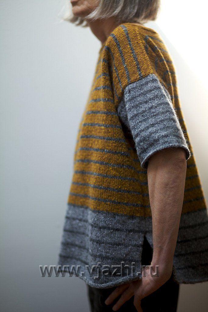 Полосатый джемпер спицами tweedy stripey с описанием