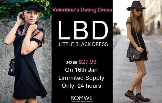 Romwe little black dress for Valentine's Day! Only $27.99, up to 35%off! 24 hours only on 16th January. Special coupon code for you: LBD10%off Don't miss, girls! Go: http://www.romwe.com/romwe-mesh-peak-collar-little-black-skater-dress-p-76761.html