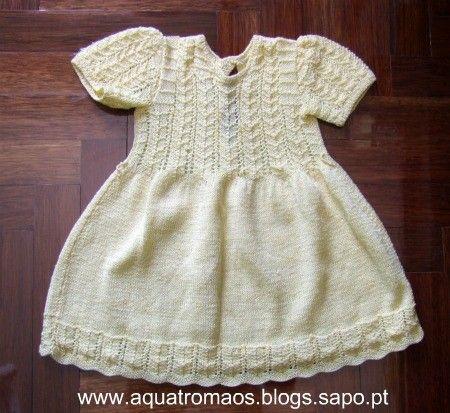 vestidos de tricô para bebe passo a passo