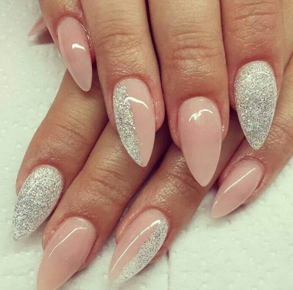 Nude n glitter.. love the color but would never consider changing the shape of my nails