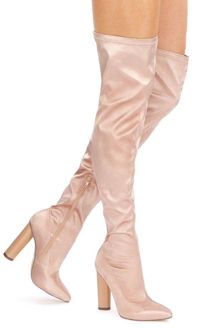 Kozaki za kolano w kolorze pudrowego różu // Have2Have