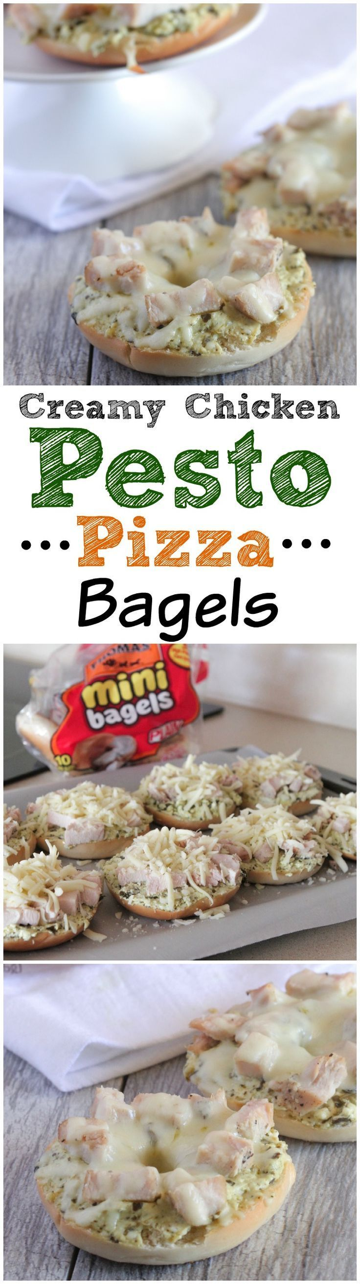 Creamy Chicken Pesto Pizza Bagels!  The perfect snack packed with great flavor! #recipe #pizza