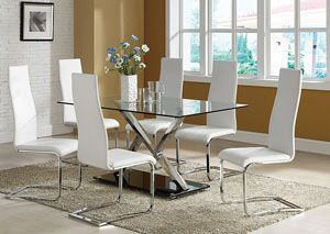 Dining Table W 4 White Side Chairs