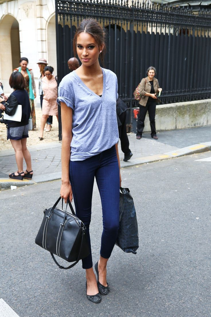 casual chic - navy cropped pants