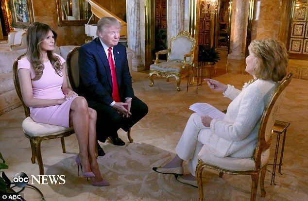 Breaking silence: Melania Trump (left) is joining her husband, Donald Trump (center), for a wide ranging interview with ABC News' Barbara Walters (right). It will be Melania's first broadcast interview since her husband declared his presidential run