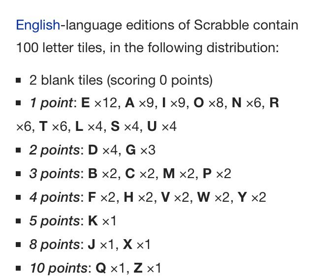 Scrabble letter distribution and points