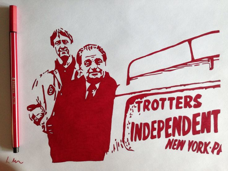 Only Fools and Horses commission work, Red fineliner, A4