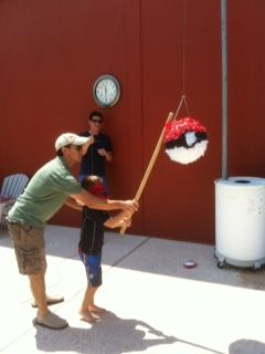 Pokemon Party - Pokemon Pinata from a beach ball, and a good idea for pokecards for each kid. Pretty frugal.