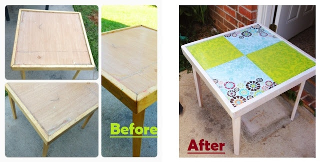 Table Makeover With Scrapbook Paper Paint And Contact