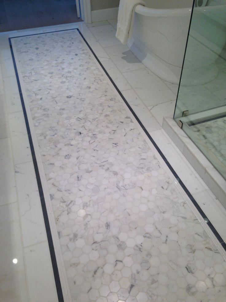 "12x24 Calacutta Stone Polished 2"" hexagon Bardiglio Marble Thassos Waterjet / exterior bathroom Traditional, contemporary modern free standing tub /CTM Tile 310-379-7646 www.ctmdealer.com"
