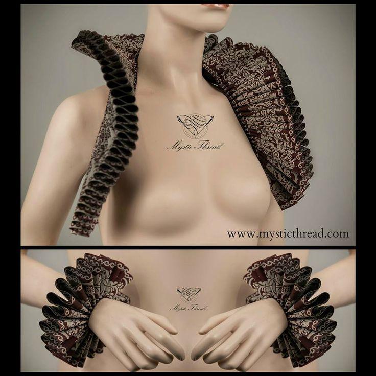 #Burgundy #red - #beige #brocade #elizabethan #costume #renaissance #ruffle #collar and #cuffs by #mysticthread / e-shop: www.mysticthread.com