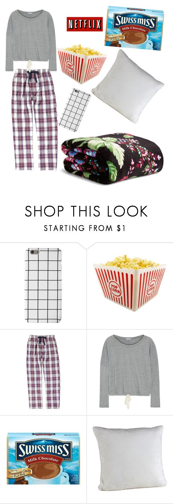 """""""Netflix and chill night"""" by melissa-kalay ❤ liked on Polyvore featuring Izod, Eberjey, Berkshire Blanket and Vera Bradley"""