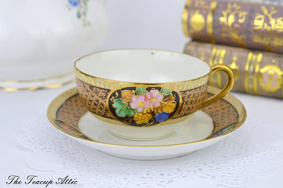 Nippon Hand Painted Teacup And Saucer Set Japanese Porcelain