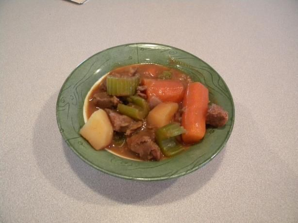 """Slow Cooker London Broil- """"The pic doesn't look like much but it was really good and easy! I added some carrots, mushrooms and potatoes to make it more of a stew and 2 chipotles in adobo for some heat. I will probably use low sodium soups next time though. Will make again!"""" -Nicole"""