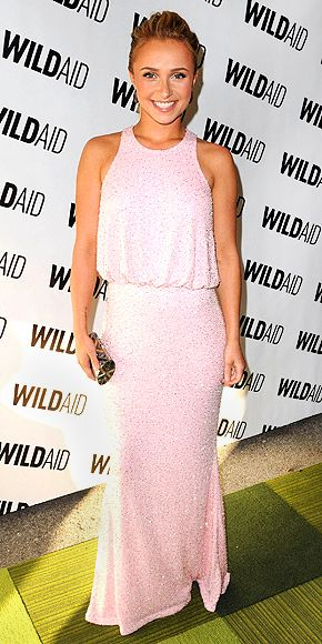 HAYDEN PANETTIERE  The actress is sweet and chic in a glittering blush-colored Naeem Khan gown, which she accessorizes with a silver roll clutch and Dana Rebecca Designs earrings at the WildAid gala in San Francisco.