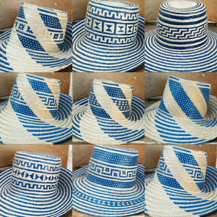 Wayuu hats in blue