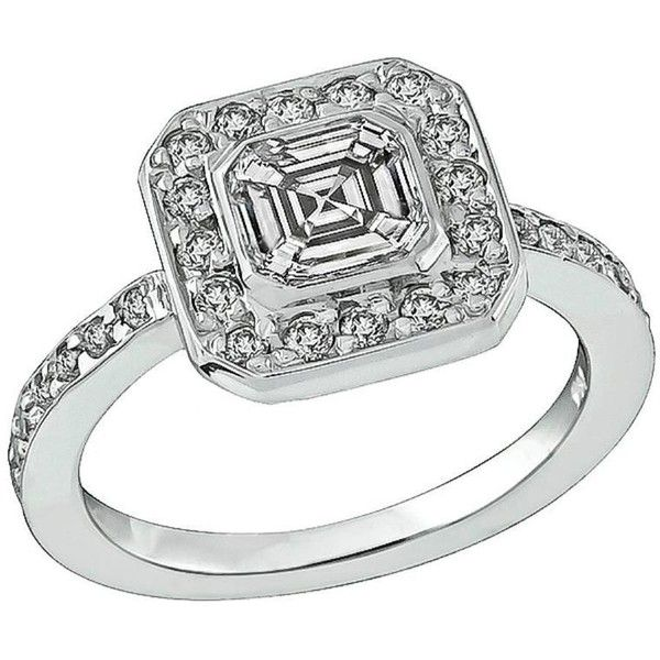 Preowned Stunning 1.01 Carat Asscher Cut Diamond Gold Engagement Ring ($7,450) ❤ liked on Polyvore featuring jewelry, rings, engagement rings, multiple, 14k yellow gold ring, yellow gold rings, gold ring, pre owned engagement rings and gold diamond rings