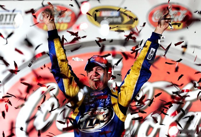 Kurt Busch, driver of the #2 Miller Lite/Vortex Dodge, celebrates in Victory Lane after winning the NASCAR Sprint Cup Series Coca-Cola 600 at Charlotte Motor Speedway on May 30, 2010 in Concord, North Carolina. This win came a week after his victory in the Sprint All-Star Race at the track, earning him a payday in excess of $1 million.