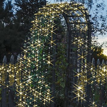 These solar-powered (Warm-White) decorating lights aresimply brilliant: No energy costs; No outlet needed 100 lights, 55 feet length / 16m 76cm Decorate anywhe