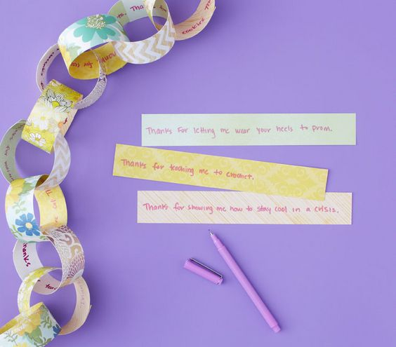 "Think outside the envelope with this Mother's Day ""card"" made of a paper chain with memories written on each link."