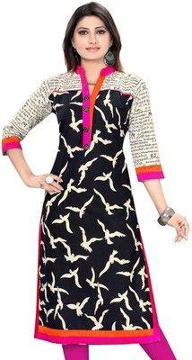 Shayona Creation Women's Black Cotton Stitched Designer Kurtis Kurtas and Kurtis