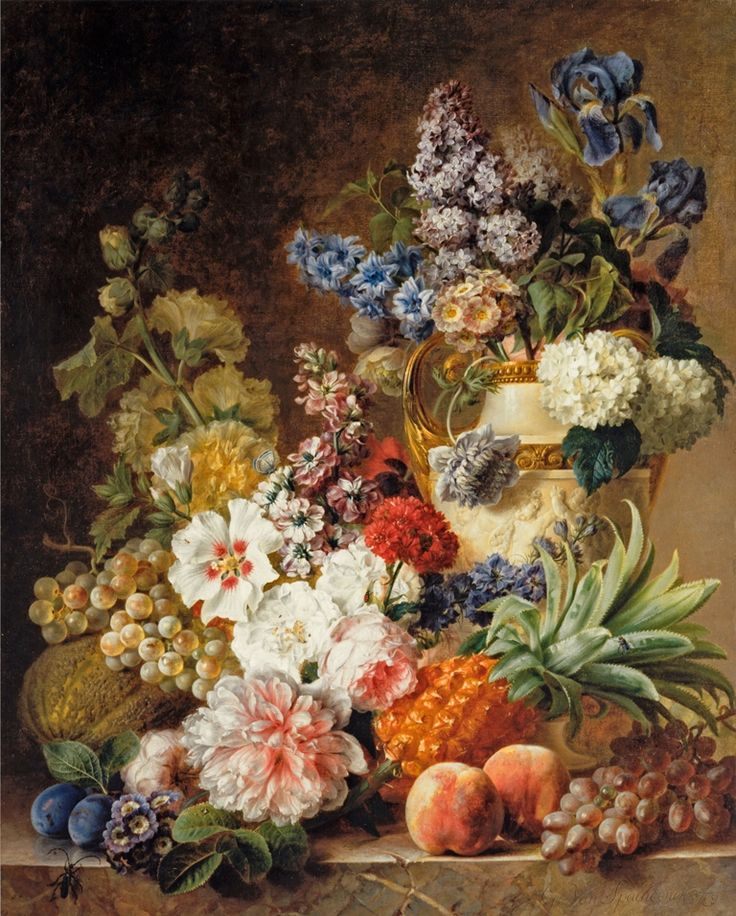 """Gerard van Spaendonck (1746 - 1822) - """"A Flower Still Life with Fruit on a Marble Table"""", 1779"""