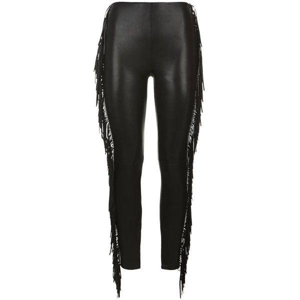 Saint Laurent Fringe Side Leather Leggings ($2,840) ❤ liked on Polyvore featuring pants, leggings, high waisted skinny pants, tailored pants, genuine leather leggings, real leather leggings and leather skinny pants