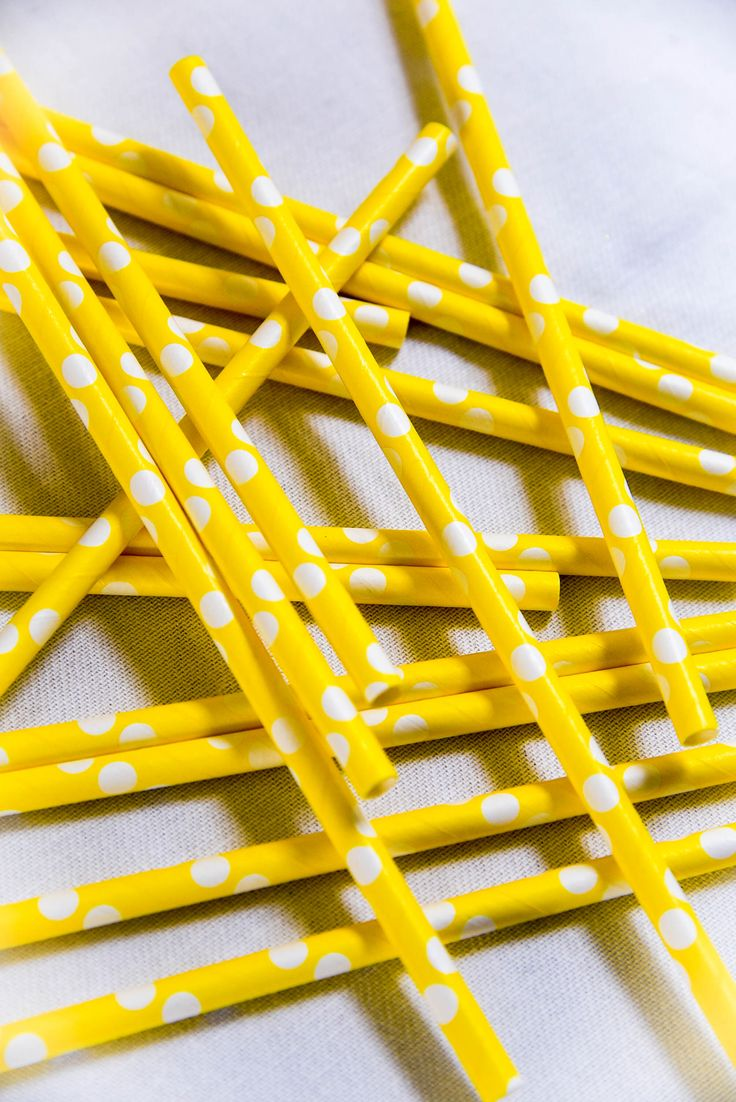 Yellow polka dot paper straws by Hunters Rose from our Teddy Bear Picnic Collection