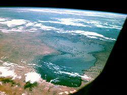 21世紀中には消滅するとも予想されているチャド湖 アポロ7号より